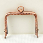 Antique Copper Embossed Purse Frame - Rectangle Bead - 8.5cm / 3.3 inch