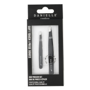Soft Touch Slant and Point Stainless Steel Tweezers, Black
