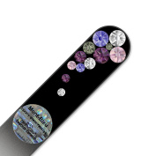 Purse Size Glass Nail File Hand Decorated with Elements, in Black Velvet Sleeve, Genuine Czech Tempered Glass,, Hand-Made Crystal Nail File