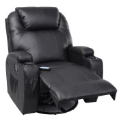 Tangkula Pu Leather Ergonomic Heated Massage Recliner Sofa Chair Deluxe Lounge Executive w/ Control