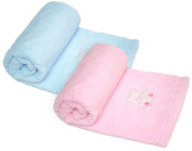 Little Mimos Honeycomb Baby Blanket, 80cm x 80cm Bear, Pink and Blue Colour