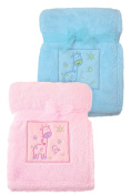 "Fluffy Fleece Baby Blanket with Animal Design 30""x40"" Pink and Blue Colours"