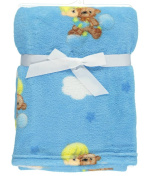 "Precious Moments ""Bedtime Teddy"" Plush Blanket - blue, one size"