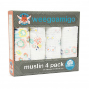 Weegoamigo Baby Muslin Swaddle Blanket 4 pack - Bunny Floral