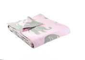 Elephant love - Reversible cotton Baby Blanket by Pink Lemonade - Light Pink