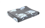 Elephant love - Reversible cotton Baby Blanket by Pink Lemonade - Light blue/Dark grey