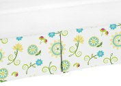 Turquoise and Lime Floral Crib Bed Skirt Dust Ruffle for Girls Layla Collection Baby Bedding Sets