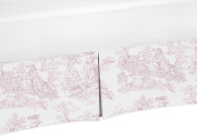 Toile Crib Bed Skirt Dust Ruffle for Girls French Pink and White Toile Collection Baby Bedding Sets