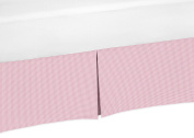 Pink and White Gingham Crib Bed Skirt Dust Ruffle for Girls French Pink Toile Collection Baby Bedding Sets