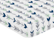 Fitted Crib Sheet for Navy Blue, Mint and Grey Woodsy Boys Baby/Toddler Bedding Set Collection - Arrow Print
