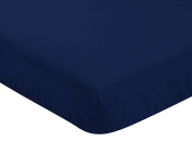 Fitted Crib Sheet for Navy Blue, Mint and Grey Woodsy Boys Baby/Toddler Bedding Set Collection - Navy Blue