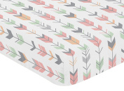 Fitted Crib Sheet for Coral, Mint and Grey Woodsy Girls Baby/Toddler Bedding Set Collection - Arrow Print