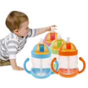 VANKER 280ML Baby Bottle Feeding Kids Straw Cup Drinking Bottle Sippy Cup Handle