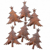 Package of 6 Beautifully Crafted Rusty Tin Christmas Trees for Crafting, Creating and Embellishing