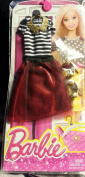 Barbie Fashion dress Red Party Skirt and Stripe Top