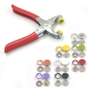 "10mm 3/8"" Mix Colour Open Ring Stud Snap + One Press Fastener Plier Button Sew 30 Sets"