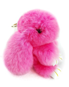 YISEVEN Stuffed Rabbit Toy, Plush Bunny Keychain made from Rex Rabbit Fur, Ornament for Handbag Cellphone Car Pendant -15cm
