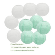 Since 5 pieces white+5 pieces 20cm mint green round paper lanterns wedding baby shower girls' party paper hanging decor favour