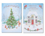 American Greetings Snowy Home and Christmas Tree Christmas Cards with Glitter, 6-Count