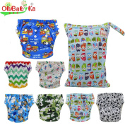Ohbabyka Baby Washable Reusable Training Nappies Pants,Baby Nappies 7PCS with A Wet/Dry Bag
