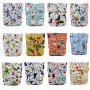 Calababy Baby Christmas Design Reuseable Washable Cloth Nappy Nappies 12PCS + 12 Inserts