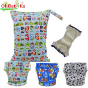 Baby Waterproof Reuseable Training Nappy Nappies 3pcs, A Wet and Dry Bag by Ohbabyka
