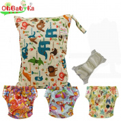 Baby Waterproof Reuseable Cloth Training Nappies 3pcs, A Wet and Dry Bag by Ohbabyka