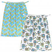 Teamoy (2 Pack) Reusable Pail Liner for Cloth Nappy/Dirty Nappies Wet Bag, Owls Green+Frogs