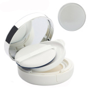 White Empty Refillable Circular Powder Puff Box Portable Magic Cushion Make-up Powder Container With Mirror and Sponge Puff for DIY and Xmas Gift