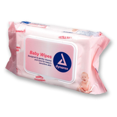 Dynarex Baby Wipes, Unscented, Soft-Pack, Case/480 (6/80s)