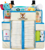 """Baby Nursery Organiser & Nappy Caddy by Little DMoose (15"""" X 14"""") – Plastic Back Support for Added Stability, Reinforced Shelves, Strong Hook and loop, Smart Hooks and Eyelets for Hanging"""