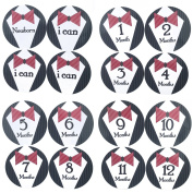 16 PCS Baby Boys Monthly Belly Sticker Necktie Tie Milestone Onesie Stickers First Holiday Shower Gift Or Scrapbook Photo Keepsake