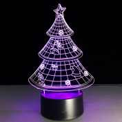 Bidlsbs 3D LED Multicolor Christmas Tree Decorative Night Lights, USB Rechargeable Touch Button Desk Table Night Lighting Lamps for Nursery Kids Room Girls Baby Children's Bedroom Home Decor