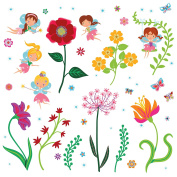 Fairy Garden Decorative Peel & Stick Wall Art Sticker Decals for Kids Room and Nursery