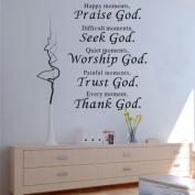 1 X Wall Vinyl Decal Quote Sign Christian Praise God DIY Art Sticker Home Wall Decor