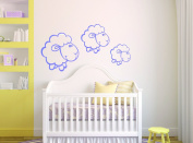 Sheep Animal Silhouette - Boy Girl Unisex Baby - Wall Decal Nursery For Home Bedroom Children (Wide 100cm x 30cm Height)