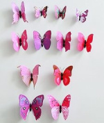 ZOOYOO- lively 3D butterfly decoration, with magnet and dispensing, is suitable in the refrigerator and the wall