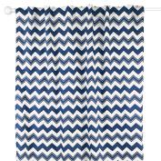 Navy Blue Zig Zag Print Blackout Window Drapery Panels - Two 210cm by 110cm Panels