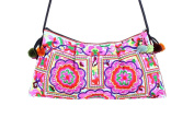 Ethnic Lanna Cross Body Embroidered Hmong Pink Flower