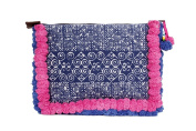 Indigo Hand Print Batik Clutch for iPad Adorned with Pink Cotton Pompoms