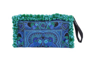 Blue Birds Fair Trade Pom Pom Make Up Wristlet Clutch