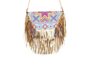 Leather Fringe CrossBody and Clutch Women Purse Embroidered Cross Stitch Star