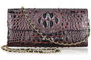 PIJUSHI Ladies Designer Studded Embossed Crocodile Evening Party Clutch Purse Wallet Handbag