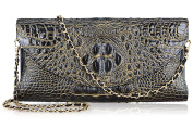 PIJUSHI Women's Genuine Leather Embossed Crocodile Evening Party Clutches Handbags Shoulder Bag