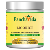 Panchaveda Licorice Root Powder Organic, Natural, Herbal, Ayurvedic Anti Ageing Hoarse Voice Remedy - Glycyrrhiza Glabra, Yashtimadhu, Mulethi Churna For Sore Throat, Ulcers, Male Fertility, & Obesity