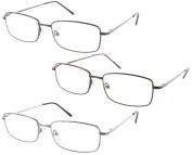 Fiore 3 Pack High Quality Metal Reading Glasses Spring Hinge Readers