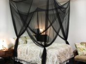 Black Four Corner Canopy Bed Netting Mosquito Net Full Queen King Size Bedding