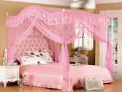 Pink Arched Four Corner Square Princess Bed Canopy Mosquito Netting