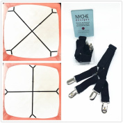 Crisscross 2 Way Adjustable Bed Sheet Straps Suspenders Grippers Fasteners For All Bedsheets Fitted Sheets Flat Sheets