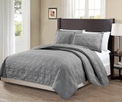 Mk Collection King/California king over size 300cm x 270cm 3 pc Geo Bedspread Bed-cover Quilted Embroidery solid Grey New